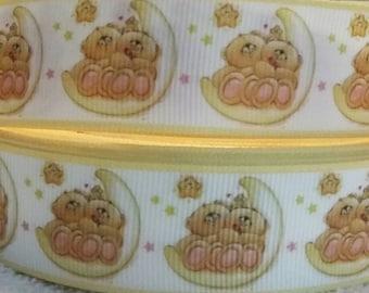 3 yards 1' teddy bears sitting in the moon designed grosgrain ribbon
