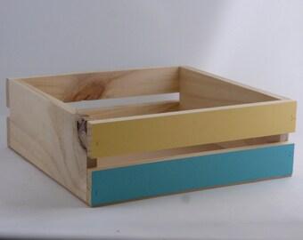 Small Square Slatted Wood Box / Hamper