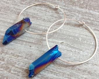 Hoop earrings in silver and rock crystal tinted