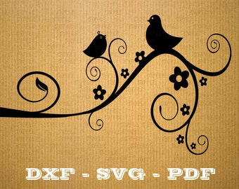 Format .dxf branch birds flowers - CNC cutting file - Vector vinyl - cricut - DXF SVG Pdf file