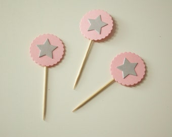 10 Cupcake Toppers SilverStar&BabyPink