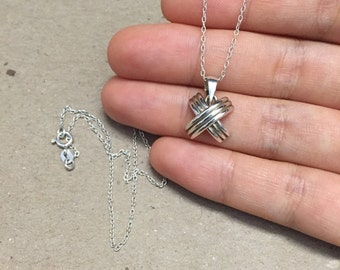 """18"""", 1mm, Sterling silver handmade necklace, solid 925 silver with geometrical pendant, stamped 925"""
