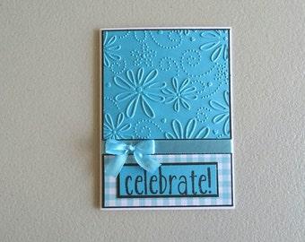 Birthday card for her - Blue birthday card - Birthday card for sister - Birthday greeting card - Floral birthday card - Ladies birthday card