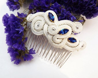 Soutache hair comb Soutache jewelry Bridal white blue hair comb Wedding hair comb embroidered comb White blue soutache comb Hair accessories