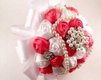 Brooch bouquet, wedding bouquet, bridal bouquet, wedding bouquet, coral bouquet, white bouquet! Create your own bouquet!