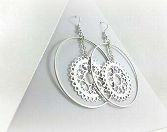 Créoles, Stainless steel hoop earrings, Stainless steel earrings, earrings round ears, watermark earrings, large earrings