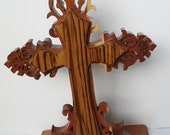 carved wooden Cross, Forest, Whimsicial, wood, red cedar, western, home decor, room decor