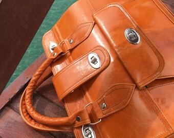 Large camel leather bag