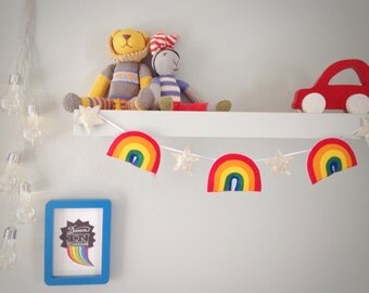 A felt rainbow and star garland