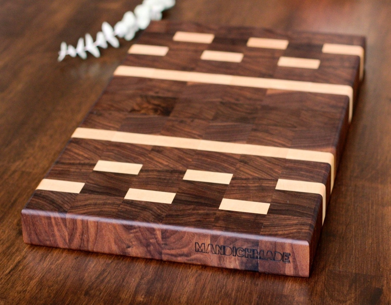 Butcher Block Cutting Boards ~ End grain walnut maple butcher block cutting board