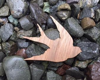 Barn Swallow Flying Bird Walnut Wood Veneer Laser Cut Sticker
