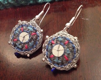 Fabric and embroidered earrings
