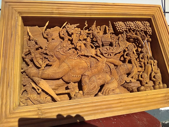 Wall Art Hand Carved Bas Relief Hanuman His Monkey Warriors Wall