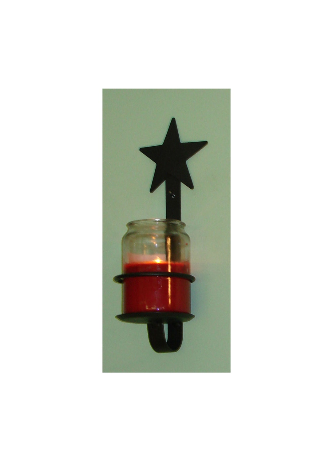 Iron Candle Holder Wall Sconce : Star Wall Sconce Jar Candle Holder Wrought Iron by PADutchBarn