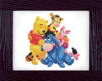 Winnie the Pooh Counted Cross Stitch Pattern - PDF - Instant Download