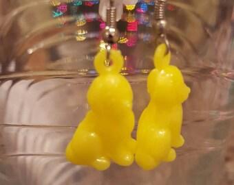 Yellow dog earrings