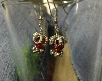 Red and silver handmade earrings
