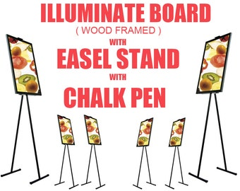 Large Flashing Illuminated Erasable Neon Writing Board Menu Sign with Easel & Fluorescent Chalk