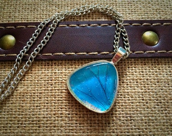 Triangle pendant made with real Butterfly Morpho wing