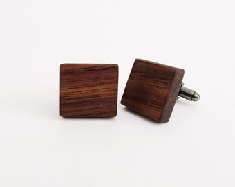 Walnut Wood Cufflinks - gunmetal