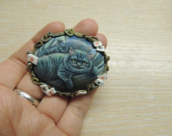 Cheshire cat. Alice in Wonderland. brooch