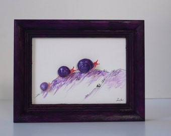 3D image with snails with oil paint painted, hammered, decoration, children