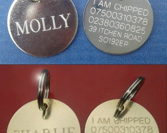 Engraved Pet Tag ID Disc Tags Cat Dog Puppy Kitten Brass or Nickel plated Round Discs + Split Ring