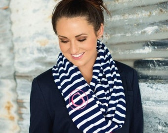 Gift for her, Monogrammed Scarves, Gifts, Scarves, Birthday gift, Valentine Gift, Knit Scarves, Scarf, Striped knit scarf, black, navy, pink