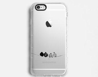 Birds iPhone 7 Plus case, iPhone 7 case, iPhone 6s plus case, iPhone 6s case, iPhone SE case, clear case, black grey minimal C130