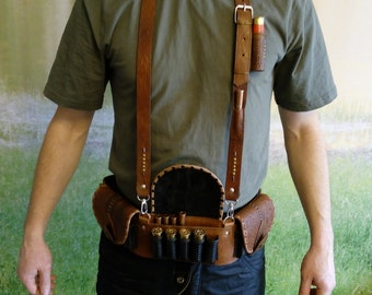 Accessories Hunting. Hunting Belt, Handmade hunting, hunters belt, Handcrafted belt, leather cartridge, Cartridge Belt, Leather Bandolier