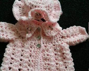 Crochet baby jacket set.