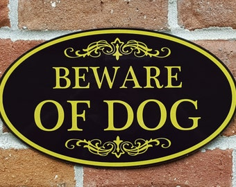 "Beware of Dog Sign Aluminum Oval 12"" x 7"" Plaque - Variety of Colors Available"