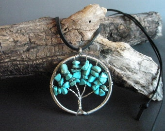 Turquoise tree of life pendant on leather