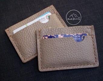 Wallet Leather, Pocket, Slim ,Minimal Wallet, Card Holder Wallet ,Grant Beige