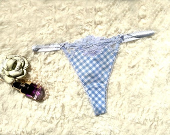 Ocean blue with floral lace design T-String Panty  Handmade to Order