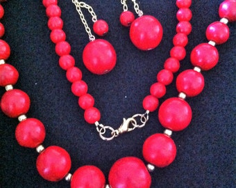 Red Howlite Necklace & Earrings