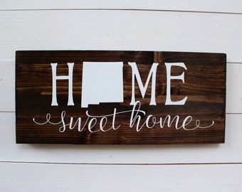 New Mexico | Home Sweet Home New Mexico | New Mexico Decor | Entryway Sign | Albuquerque | New Mexico Home Sign | Gift under 25 | NM decor