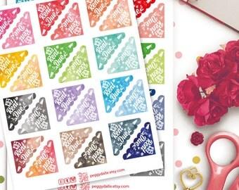 Rent Due Corner Watercolor Planner Stickers | Erin Condren | Kikki K | Filofax | Life Planners | Happy Planner