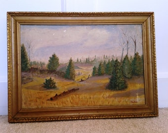 1953-Framed-Woodland-Scene-Painting-of-Marquette-Michigan-Very-Good-Condition