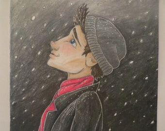 Snow boy night art print