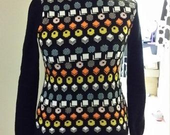 Handmade knitted liquorice allsorts jumper