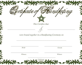Printable Green Handfasting Certificate - Celtic - Pagan )0( - Blank background