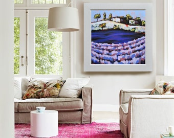"Purple flowers 36"" 36"",  Original landscape painting by Antonello Plantamura"