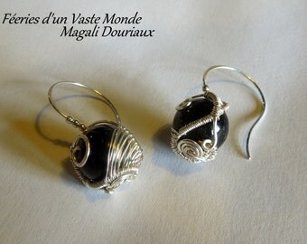 Earrings crafts spiral onyx copper silver