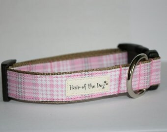 Pink/ White/Grey Plaid Flannel DoG Collar