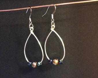 Simple Silver wire hoops - Handmade