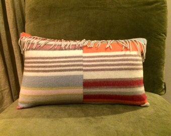 Pastel-Striped Cashmere Pillow