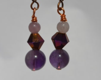 Amethyst Beaded Earrings