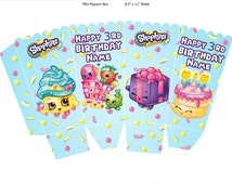 Shopkins Popcorn Box/Candy Box, PERSONALIZED, Party Decoration, Printable Birthday Supply
