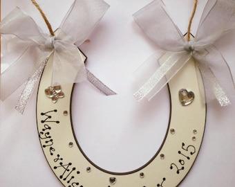 Wedding Horseshoe Plaque lucky horseshoe wedding keepsake sign bride and groom wedding gift.